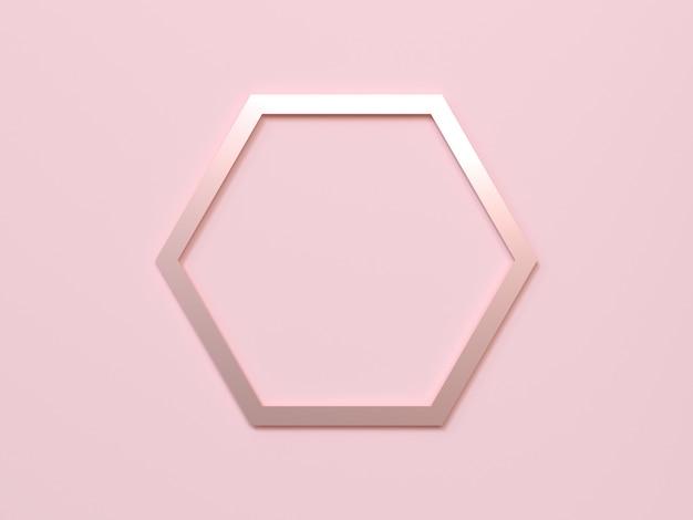 Fondo rosa marco hexagonal oro rosa metálico 3d rendering