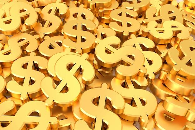 Fondo de signo de dólar representación 3d