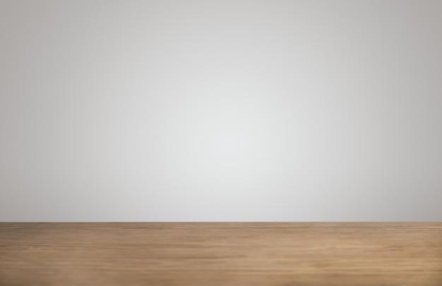 Fondo simple con mesa de madera gruesa vacía en cafetería y pared blanca en blanco