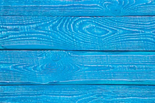 Fondo de tableros de textura de madera pintados con pintura azul brillante. horizontal.