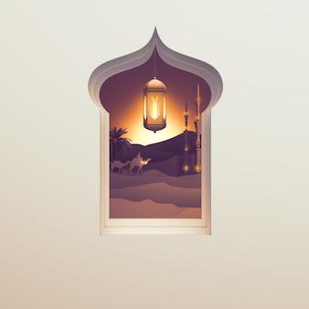 Fondo de tarjeta de felicitación islámica con ventana de linterna árabe