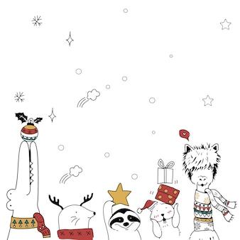 Fondo de tarjeta de vacaciones festivas de animales de dibujos animados de navidad