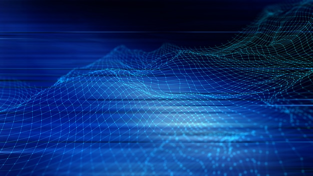 Fondo techno abstracto en 3d con puntos y líneas de conexión