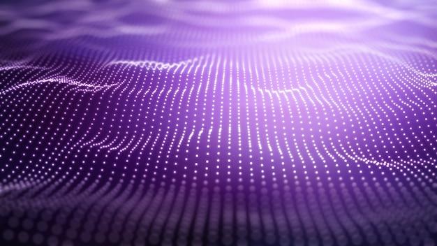 Fondo tecno púrpura 3d con puntos que fluyen