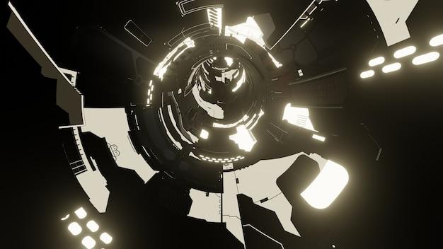 Fondo de tecnología abstracta, 3d render tecnología futurista o túnel de ciencia ficción del ciberespacio. ilustración 3d.