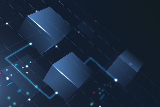 Fondo de tecnología blockchain en azul degradado
