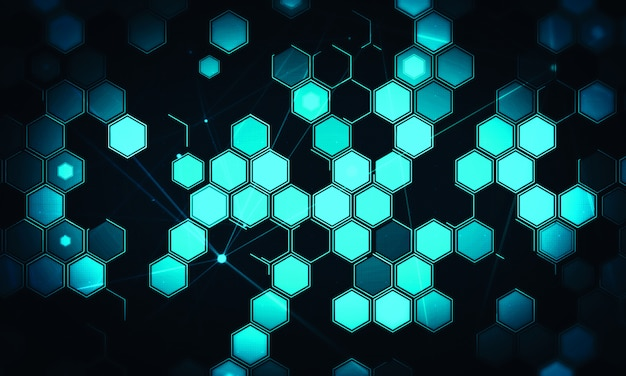 Fondo de tecnología digital hexagonal