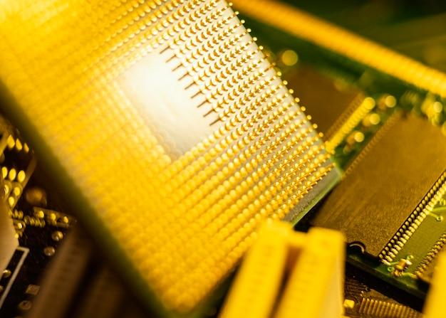 Fondo de tecnología elementos amarillos