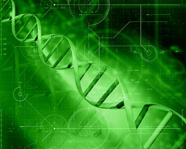 Fondo de tecnología médica 3d con hebra de adn