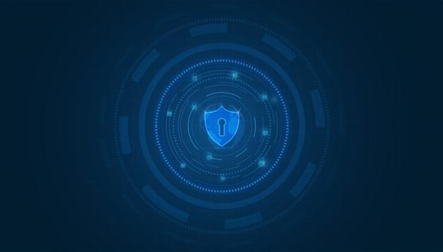 Fondo de tecnología de seguridad concepto de seguridad cibernética escudo con icono de ojo de cerradura sobre fondo azul
