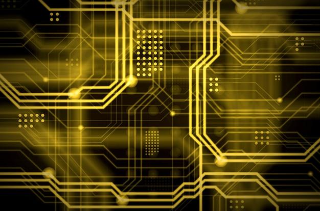 Fondo tecnológico amarillo abstracto