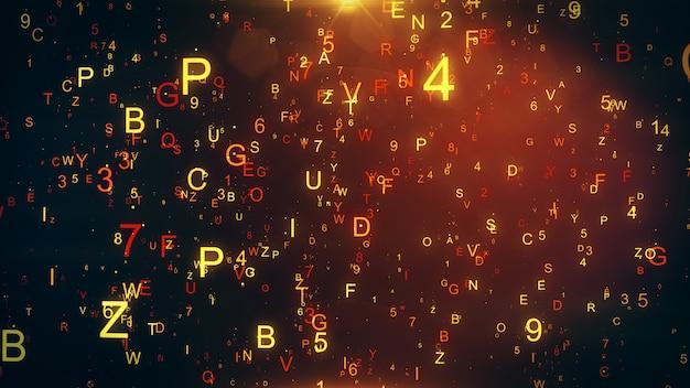 Fondo tecnológico con letras voladoras y figuras ilustración 3d