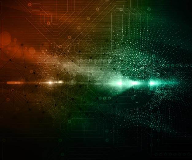 Fondo tecnológico con puntos de conexión y líneas y textura de placa de circuito