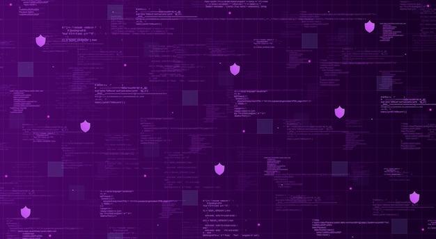 Fondo tecnológico púrpura con elementos de código e iconos de escudo