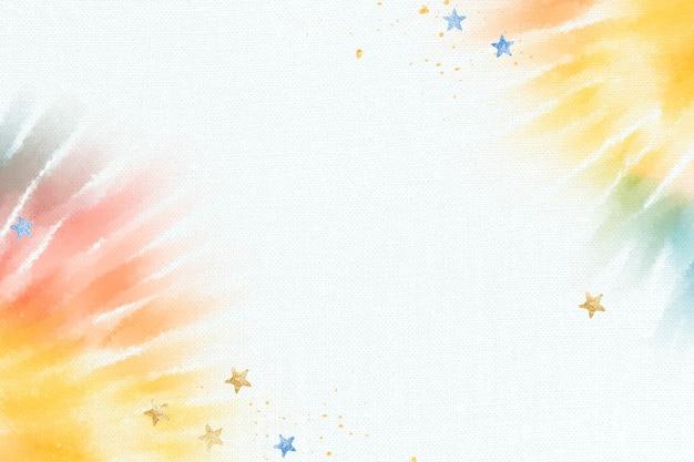 Fondo de teñido anudado colorido con borde de acuarela abstracta