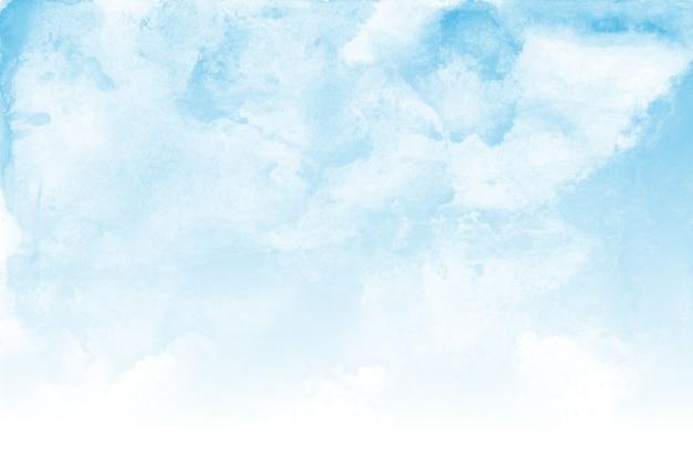 Fondo de textura de acuarela de cielo azul y nubes