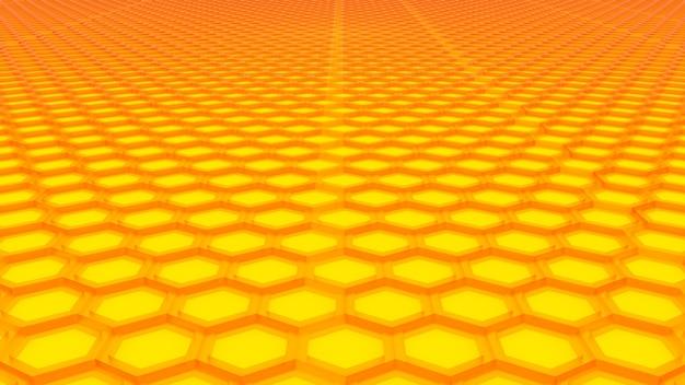 Fondo de textura hexagonal amarillo. render 3d.