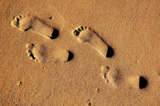 Fondo de textura huellas de pies humanos en la arena cerca del agua en la playa.
