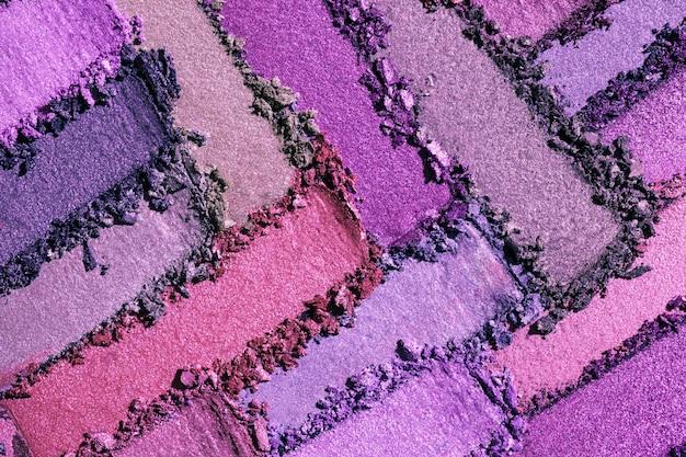 Fondo de textura de paleta púrpura multicolor mate brillante de sombra de ojos