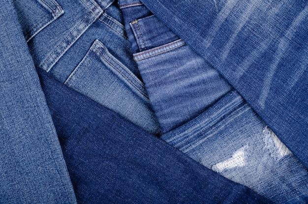 Fondo de textura de pantalones de algodón azul con espacio de copia.