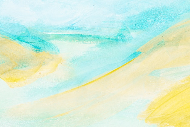 Fondo texturizado abstracto pincelada azul claro y amarillo