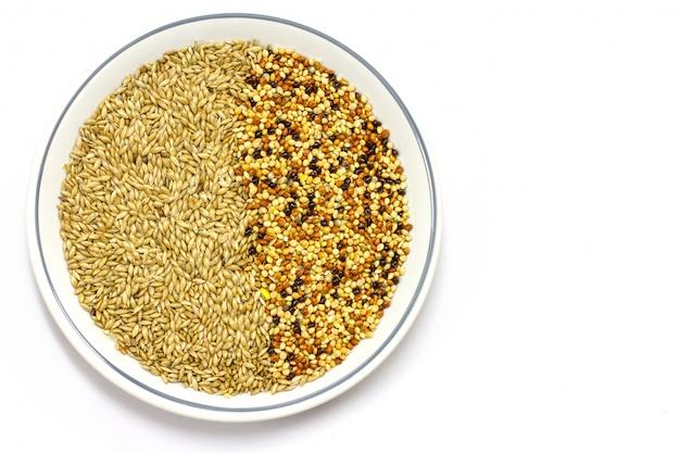 Fondo texturizado hermoso de las semillas secas del mijo