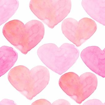 Fondo transparente de corazones de acuarela
