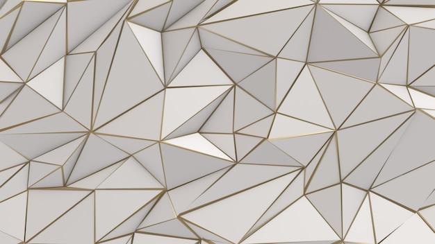Fondo de triángulo de baja poli abstracto blanco y oro