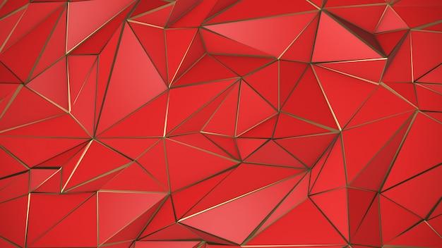 Fondo de triángulo bajo poli abstracto rojo y oro