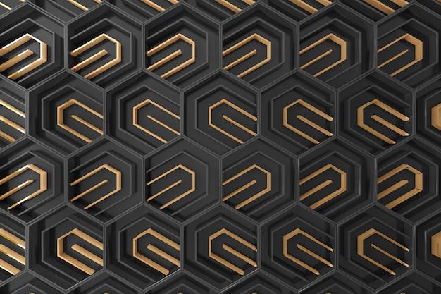 Fondo tridimensional negro y dorado