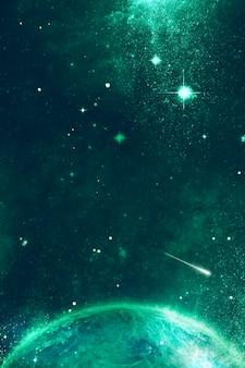 Fondo del universo espacial en verde