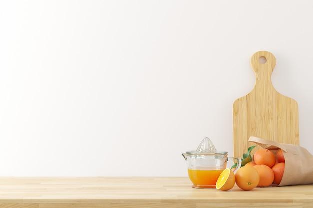 Fondo de utensilios de cocina con espacio de copia de textura de muro de hormigón blanco para texto, render 3d