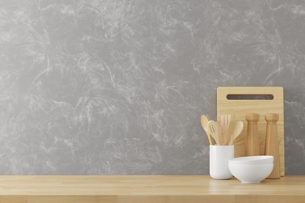 Fondo de utensilios de cocina con espacio de copia de textura de muro de hormigón para texto, render 3d