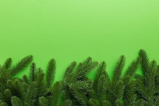 Fondo de vacaciones de navidad con espacio de copia de texto publicitario. ramas de abeto sobre fondo de color. endecha plana, vista superior