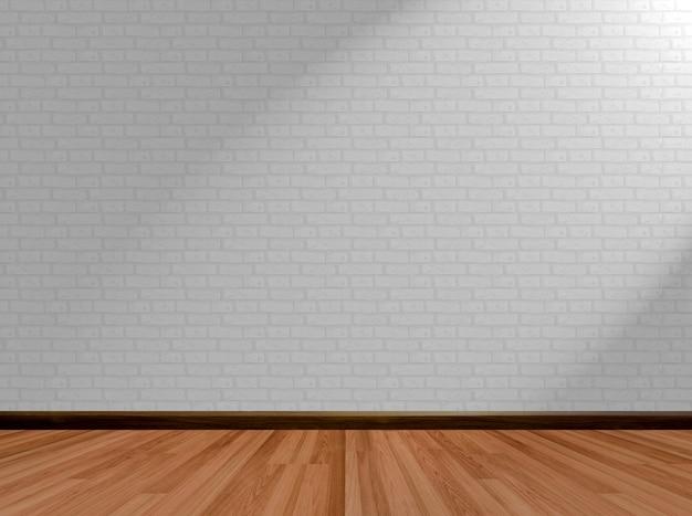 Fondo vacío del sitio y pared de ladrillo de madera del piso con efecto de la luz y de sombra.