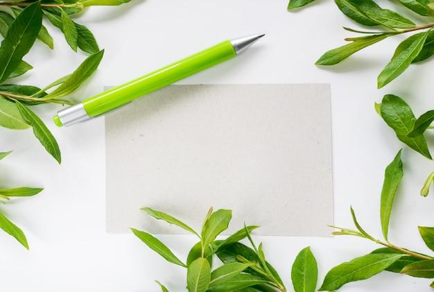 Fondo de verano con bolígrafo y papel
