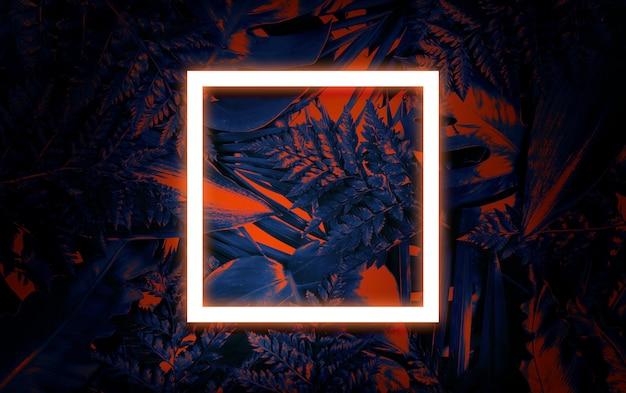 Fondo de verano fluorescente, tarjeta de marco en blanco de verano abstracto