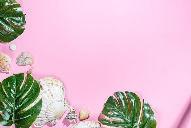 Fondo de verano con palmeras tropicales y conchas marinas.