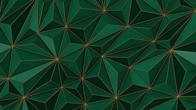 Fondo verde abstracto de baja poli con espacio de copia y render 3d de franja dorada