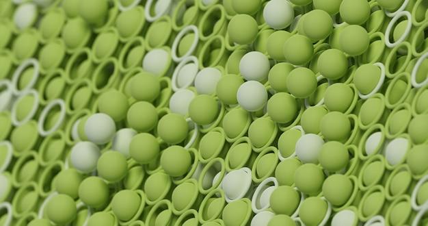 Fondo verde brillante geométrico abstracto 3d con esferas y malla. telón de fondo futurista contemporáneo con una voluminosa textura verde. cubierta moderna, fondo para presentaciones, publicidad.