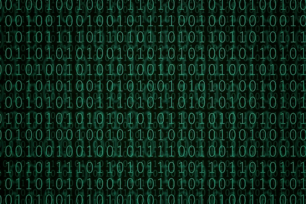 Fondo verde del código binario.