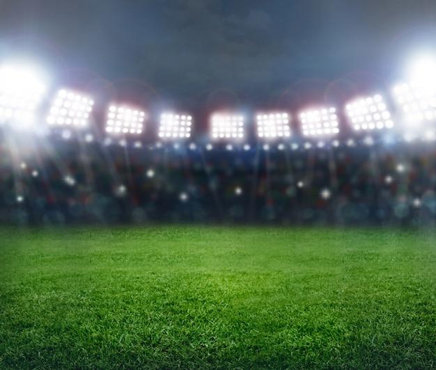 Fondo verde del estadio de fútbol.