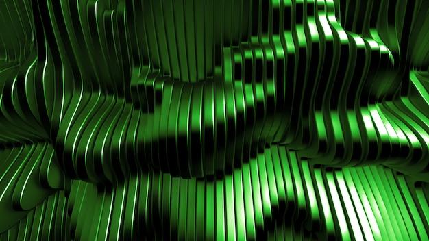 Fondo verde con líneas. representación 3d