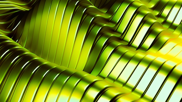 Fondo verde metálico con ondas y líneas. representación 3d