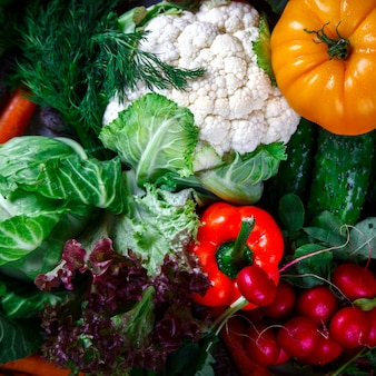 Fondo de verduras. diferentes hortalizas frescas de granja.