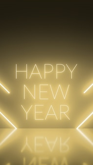 Fondo vertical de neón oro abstracto con diagonales de línea de formas de luz en piso dorado y reflectante, feliz año nuevo, concepto festivo. representación 3d