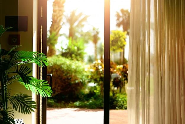 Fondo de la vista tropical. verano, viajes, vacaciones y concepto de vacaciones.