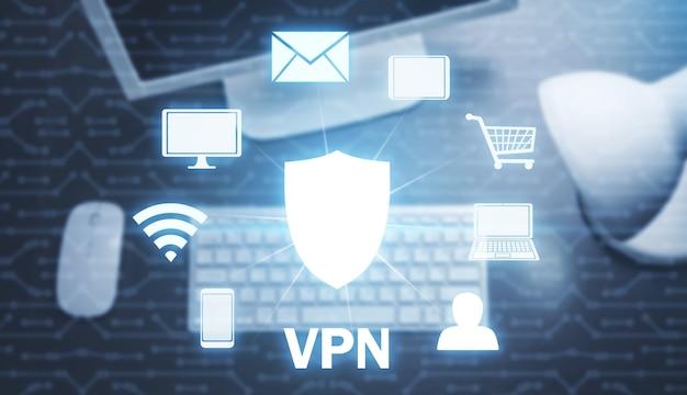 Fondo de vpn con teclado y monitor