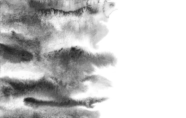 Fondos abstractos de la acuarela negra, pintura de la mano en el papel.