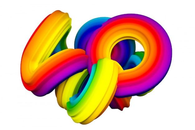 Forma abstracta del arco iris. representación 3d
